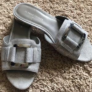 Donald J Pliner Silver Slip On Sandal